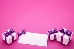Holiday accessories on a pink background Royalty Free Stock Images