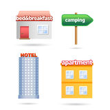 Holiday accommodations icons Stock Image