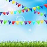 Holiday ackground with grass and pennant Stock Image