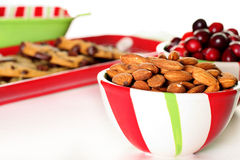 Holiday almonds & cranberries with cookies. Shot of holiday almonds & cranberries with cookies Stock Photo