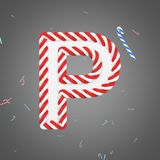 Holiday alphabet letter P uppercase. Christmas font made of mint striped candy canes. 3D render. Xmas typographic symbol from red and white sugar caramels Royalty Free Stock Photo