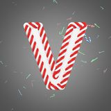 Holiday alphabet letter V uppercase. Christmas font made of mint striped candy canes. 3D render. Xmas typographic symbol from red and white sugar caramels Stock Photos