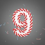 Holiday alphabet number 9. Christmas font made of mint striped candy canes. 3D render. Xmas typographic symbol from red and white sugar caramels Stock Photography