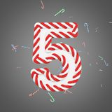 Holiday alphabet number 5. Christmas font made of mint striped candy canes. 3D render. Xmas typographic symbol from red and white sugar caramels Stock Image