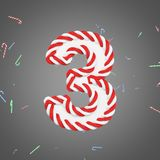 Holiday alphabet number 3. Christmas font made of mint striped candy canes. 3D render. Xmas typographic symbol from red and white sugar caramels Stock Image