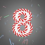 Holiday alphabet number 8. Christmas font made of mint striped candy canes. 3D render. Xmas typographic symbol from red and white sugar caramels Stock Photography