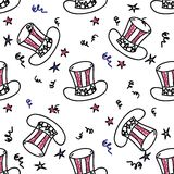Holiday american hat seamless pattern. With stars Royalty Free Stock Photos