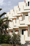 Holiday Apartment Balconies. Holiday apartment block showing the repeat pattern made by the decor Stock Image