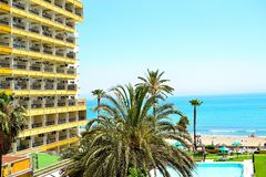 Holiday apartment block in Torremolinos, Spain Royalty Free Stock Photography