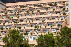 holiday apartment building and sun terrace in Ibiza island, Spain royalty free stock photo