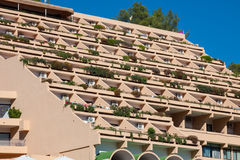 Holiday apartment building and sun terrace in Ibiza island, Spai Royalty Free Stock Photos