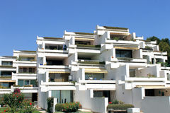 Holiday apartment buildings. On island of Majorca, Spain Stock Image