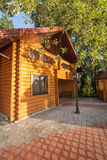 Holiday apartment - wooden cottage in forest Stock Photos