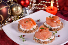 Holiday appetizer canapes salmon Royalty Free Stock Photos