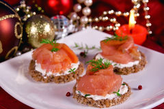 Holiday appetizer canapes salmon Stock Image
