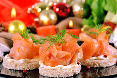 Holiday appetizer with salmon canapes Stock Photo