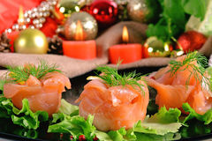 Holiday appetizer with salmon canapes Royalty Free Stock Photos
