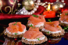 Holiday appetizer with salmon canapes Royalty Free Stock Photography