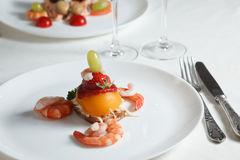 Holiday Appetizer on a white plate with cutlery Royalty Free Stock Photo
