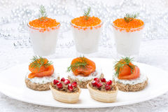 Holiday appetizers in assortment Royalty Free Stock Images
