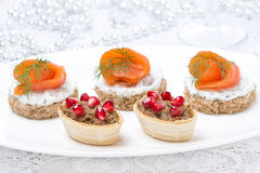 Holiday appetizers - canape with salmon, tartlet with liver pate Royalty Free Stock Photos
