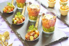 Holiday appetizers with salmon and red caviar Royalty Free Stock Images