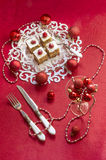 Holiday apple pie bars, garnished with fresh raspberries and Christmas decorations. Stock Photo