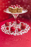 Holiday Apple Pie Bars, Garnished With Fresh Raspberries And Christmas Decorations. Royalty Free Stock Photos