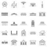 Holiday area icons set, outline style Royalty Free Stock Photography