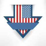 Holiday arrow american flag label hanging on the wall Stock Photos