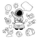 Holiday astronauts hand drawn royalty free illustration