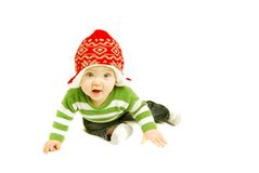 Holiday Baby. Cute and happy baby boy dressed for the Holidays stock image