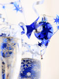 Holiday background. With glass of fizz Stock Photos