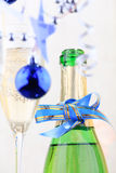Holiday background. With glass of fizz Royalty Free Stock Photos