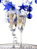 Holiday background. With glass of fizz Stock Photo