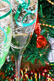 Holiday background. Glass of fizz on the table Stock Photo