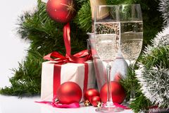 Holiday background. With presents and fizz Royalty Free Stock Photography