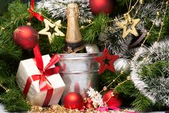 Holiday background. With presents and fizz Royalty Free Stock Photo