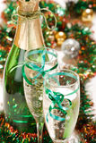 Holiday background. With glass of fizz Stock Images