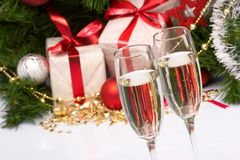 Holiday background. With glass of fizz Royalty Free Stock Images