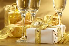 Holiday background. With glass of fizz Stock Photography