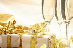 Holiday background. With presents and fizz Stock Photo