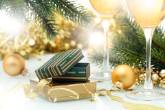 Holiday background. With Gift box and golden ribbon Stock Photos