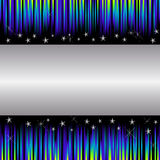 Holiday background. Silver banner on a striped background with stars Stock Photos