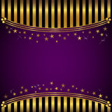 Holiday background. Golden striped background with banner and stars Royalty Free Stock Photography