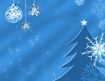 Holiday background. Illustration with stars, ornaments, snowflakes and a tree Stock Photo
