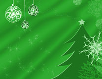 Holiday background. Illustration with stars, ornaments, snowflakes and a tree on green Stock Photos