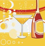 Holiday background. Wineglass with cocktail and bottle of shampaign on the bright background Royalty Free Stock Photo