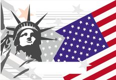 Holiday background. Background with stars, stripes and Lady Freedom Royalty Free Stock Images