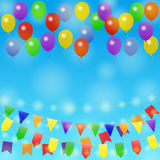 Holiday background with balloon. Festive background. Different Colors Garlands and Balloons in blue sky. Vector illustration for greeting and post cards Stock Photography